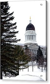 Pine Tree State Capitol In Winter Acrylic Print