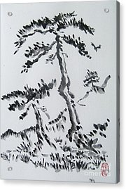 Acrylic Print featuring the painting Pine Trees On Tokaido Road by Roberto Prusso
