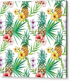 Pineapple And Tropical Flowers Acrylic Print