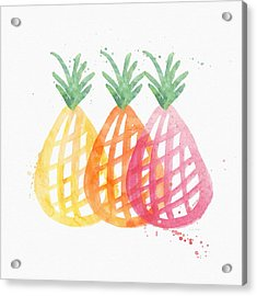 Pineapple Trio Acrylic Print by Linda Woods