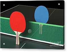 Ping Pong Paddles On Table, Standing Upright Acrylic Print
