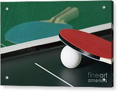 Ping Pong Paddles On Table With Net Acrylic Print