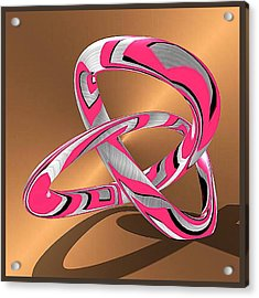 Pink Abstract On Gold Acrylic Print
