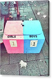Pink And Blue Crate Acrylic Print by Tom Gowanlock