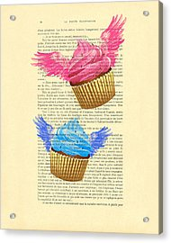 Pink And Blue Cupcakes Vintage Dictionary Art Acrylic Print