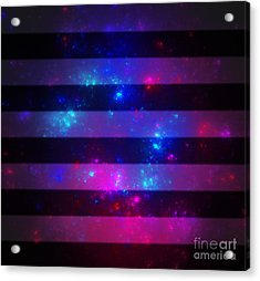 Pink And Blue Striped Galaxy Acrylic Print