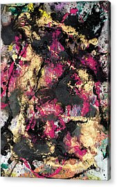 Pink And Gold Merge Acrylic Print