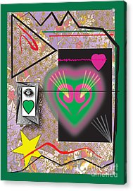 Acrylic Print featuring the digital art Pink And Green Heart Design by Christine Perry