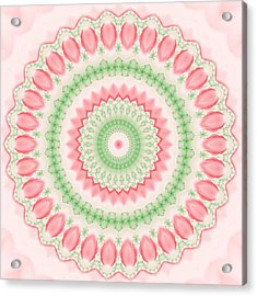 Pink And Green Mandala Fractal 003 Acrylic Print