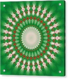 Pink And Green Mandala Fractal 005 Acrylic Print