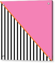 Pink And Orange And Black Geometric Acrylic Print by Linda Woods