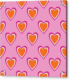 Pink And Orange Hearts- Art By Linda Woods Acrylic Print by Linda Woods