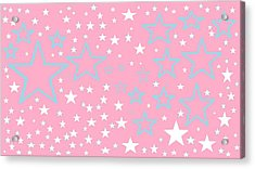 Pink And Turquoise Stars 1 Acrylic Print by Linda Velasquez