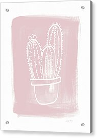 Pink And White Cactus- Art By Linda Woods Acrylic Print by Linda Woods