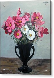 Pink And White Cosmos In Black Milk Glass Vase Acrylic Print