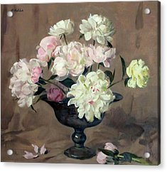 Pink And White Peonies In Silver Pedestal Bowl Acrylic Print