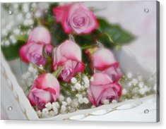 Acrylic Print featuring the photograph Pink And White Roses In White Box 2 by Diane Alexander