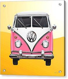 Pink And White Volkswagen T 1 Samba Bus On Yellow Acrylic Print
