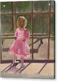 Pink Ballerina Acrylic Print by Kathy Wood