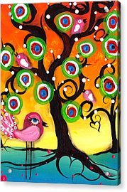 Pink Birds On A Tree Acrylic Print by  Abril Andrade Griffith