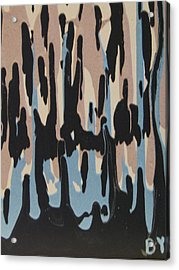 Pink Blue And Brown Drips Acrylic Print by Barbara Yearty