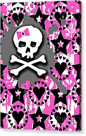 Pink Bow Skull Acrylic Print by Roseanne Jones