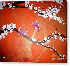 Pink Butterflies And Cherry Blossom Acrylic Print