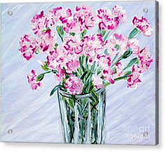 Pink Carnations In A Vase. For Sale Acrylic Print