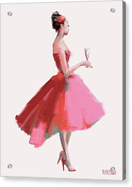 Pink Champagne Fashion Art Acrylic Print by Beverly Brown