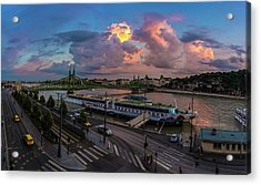 Pink Clouds Above The Danube, Budapest Acrylic Print