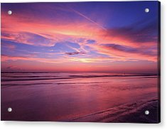 Pink Sky And Ocean Acrylic Print