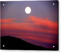 Pink Clouds With Moon Acrylic Print by Joseph Frank Baraba