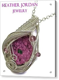Pink Cobaltoan Calcite Druzy And Sterling Silver Wire-wrapped Pendant With Pink Rubellite Tourmaline Acrylic Print