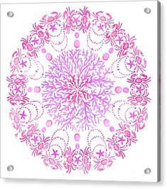 Pink Crab Mandala Acrylic Print by Stephanie Troxell