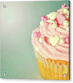 Acrylic Print featuring the photograph Pink Cupcake With Lovehearts by Lyn Randle