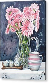Pink Daisies In Crystal Pitcher Acrylic Print