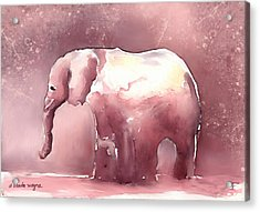 Pink Elephant Acrylic Print by Arline Wagner