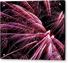 Acrylic Print featuring the photograph Pink Flamingo Fireworks #0710 by Barbara Tristan