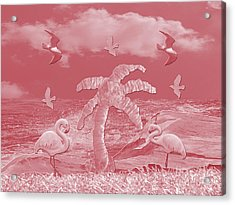 Pink Flamingo's Palms Acrylic Print