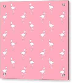 Pink Flamingos Pattern Acrylic Print by Christina Rollo
