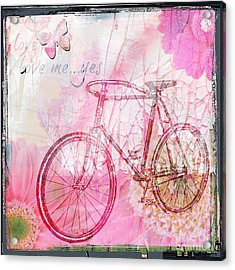 Pink Flower Bicycle Acrylic Print
