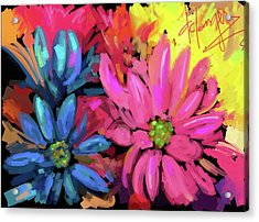 Acrylic Print featuring the painting Pink Flower by DC Langer