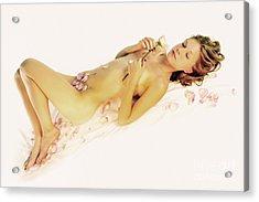 Pink Flower Petals Acrylic Print by Robert WK Clark