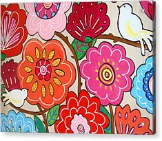 Pink Flowers And White Birds Acrylic Print