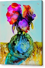 Acrylic Print featuring the painting Pink Flowers In A Vase by Priti Lathia