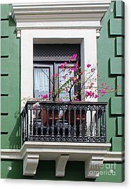 Pink Flowers On Balcony Acrylic Print