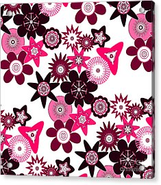 Pink Funky Flowers Acrylic Print by Methune Hively