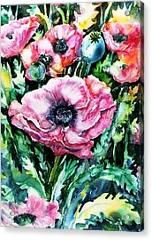 Acrylic Print featuring the painting Pink Garden Poppies  by Trudi Doyle