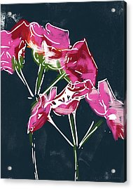 Pink Geraniums- Art By Linda Woods Acrylic Print by Linda Woods