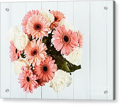 Pink Gerbera Daisy Flowers And White Roses Bouquet Acrylic Print by Radu Bercan